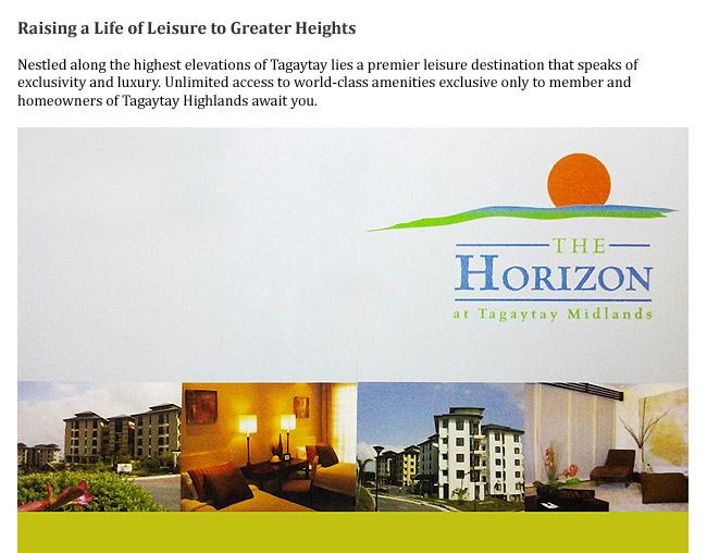 Horizon, Tagaytay Highlands, Philippines, Condominiums