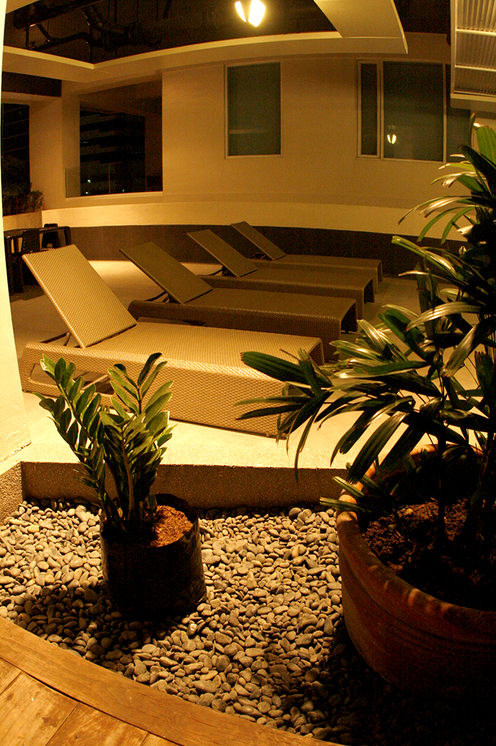 1 Bedroom Seibu Tower condominium in BGC night view of the swimming pool